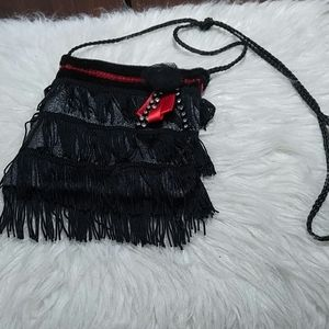 Black and red small flapper inspired crossbody bag